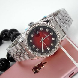 Wholesale Round Stainless Steel Charm - classic charm fashion simple famous brand luxury design diamond watches women date automatic big bang black red styles stainless steel