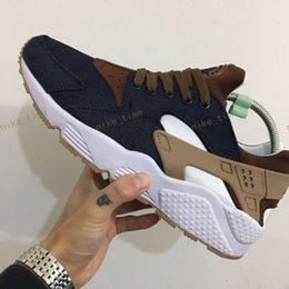Wholesale Womens Athletic Shoes Size 11 - 2017 New arrival Drop Shipping Wholesale Famous Huarache iD Denim Brown Mens Womens Athletic Sneakers Sports Running Shoes Size 5.5-11