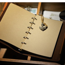 Wholesale Wholesale Leather Binders - Wholesale- 2016 Vintage Classic Retro Loose-leaf Notebook Diary Journal Record Book Travel Souvenir Classic Retro Spiral Ring Binder Deco