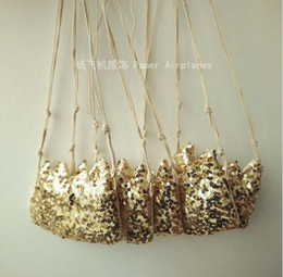 Wholesale kids crossbody bags - INS Children Crossbody Bag for Girls Cool Gold Sequins Crown Kids Fringe Bag Bow Messenger Bags Handmade Small Bag Coin Purse glitter C001