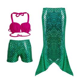 Wholesale Cute Girls Bathing Suits - Cartoon Mermaid Girls Swimsuits Cute Three Piece Kids Swimwear Solid Girls Pants Bathing Suits for Children