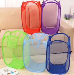 Wholesale Pop Hamper - Foldable Mesh Laundry Basket Clothes Storage supplies Pop Up Washing Clothes Laundry Basket Bin Hamper Mesh Storage Bag KKA2306