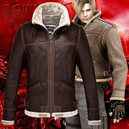 Wholesale Collar Leon - Wholesale- RE4 RESIDENT EVIL 4 LEON KENNEDY'S PU Faux LEATHER FUR JACKET High Quality