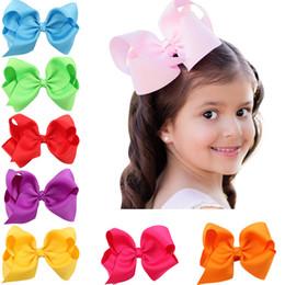 Wholesale Handmade Hairbows - Wholesale- 1PCS Infant hairbows Ribbon bow hair clip Baby girls hairclip Girls Boutique Handmade Hair Bow Grosgrain Ribbon Bow
