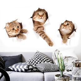Wholesale Wholesale For Pet Shops - Wholesale-1pcs fashion 3D simulation cute cat sticker child bedroom living room Pet shop refrigerator Decorating Sticker Decor Cartoon 2017