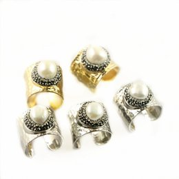 Wholesale Copper Brass Jewelry Findings - Popular 5Pcs Gold Color   Rhodium Plated Pave Rhinestone Crystal Druzy Pearl Ring Jewelry Finding