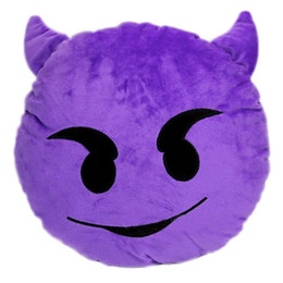 Argentina Al por mayor-Demon Series Emoji Cojín de peluche Púrpura Pequeño Diablo Emoticon Redondo Juguete de peluche Hogar Decorativo Suave Almohada supplier purple decorative pillows Suministro