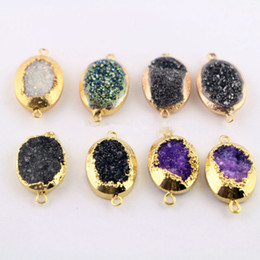 Wholesale Drusy Connectors - New! Fashion 10Pcs Gold Color Oval Druzy Titanium Drusy Gem stone Connector, Beads For Jewelry Making
