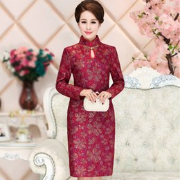 Wholesale Double Old Fashioned - middle-aged and old women's middle-aged long sleeve spring and autumn fashion cheongsam knee mother of the bride dress