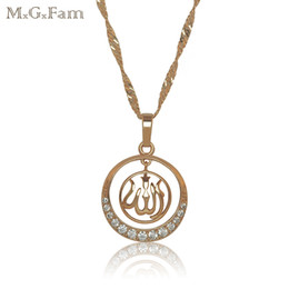 Wholesale Islamic Necklaces - 18K Gold Plated Islamic Pendant Necklace Jewelry with Free 45cm Matching wave Chain Good Quality