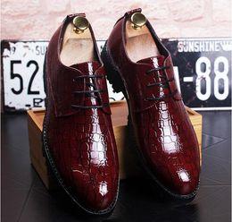 Wholesale Knot Cut Out Dress - 2017 NEW Fashion crocodile grain Genuine Leather Men Dress Shoes, Business Brand Leather Men Shoes, Casual Design Men Flats Oxfords