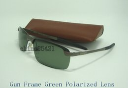 Wholesale Mens Guns - 1Pcs Mens Designer Sunglasses Sports Polarized Sun Glasses Eyewear Gun Green With Brown Case