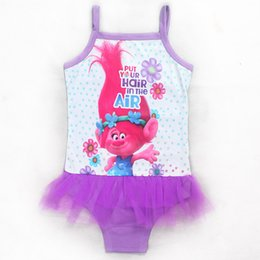 Wholesale Swimsuit Lace Pink - Trolls One-Pieces grenadine Lace Swimsuit Girls children cartoon trolls sling 3color 3~9yearsbaby swimming Bikini suit