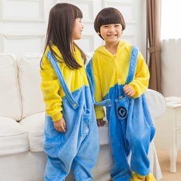 Wholesale Minions Kid Sleepwear - Kids Boys Girls Clothes Pijamas Flannel Pajamas Child Pyjamas Hooded Sleepwear Cartoon Animal Yellow Minions Cosplay Design