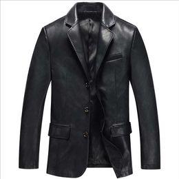 Mode Pu-leder Blazer Jacke Herren Mantel Casual Business Anzug Jacke  Schwarz Blau Blazer Marke Kleidung günstig herren-leder-jacke 4129de2688