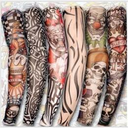 Wholesale Stockings Tattoo Design - Wholesale- 1pc hot sale tattoo sleeve styles elastic Fake 100%nylon Arm stocking beloved girl Buddha Wolf Dragon design halloween cool men