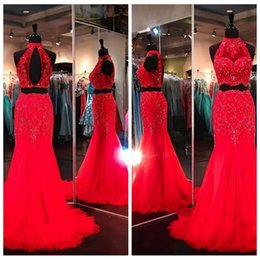 Wholesale Two Piece Evening Gowns Online - Custom Online Long Lace Crystal Rhinestones Beaded Mermaid Prom Dress Two Piece Formal Evening Party Gowns Vestidos De Pageant Dresses
