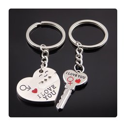 Wholesale Lover Couples - New Lock Heart Rings Alloy Keychain Cupid Arrow Couple Key Chain Lovers Pendant Key Ring Key Chain For Lovers Free Shipping