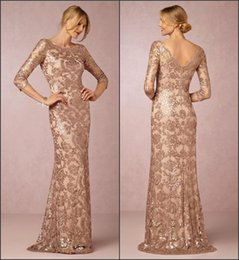 Wholesale Gold Rose Bride Dress - Long Sleeve Elegant Mother of Bride Gowns 2017 Rose Gold with Lace Appliques A Line Mother of Groom Dresses Formal Evening Wear