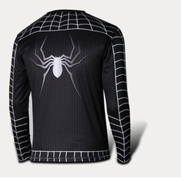 Wholesale Shirt Halloween Adult - Halloween Clothing Cosplay Costumes Long Sleeves Round Neck T-Shirt Man Clothing Men's Spiderman T-Shirts Adult Theme Costume