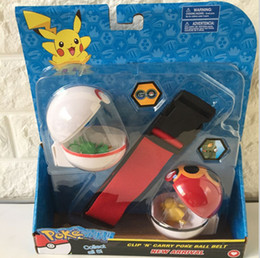 Wholesale N Figures - Poke belt pokeball Pokémon Clip N Carry Poke Ball Belt plastic action figure doll Pikachu children toys christmas gifts with retail package