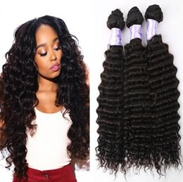Wholesale 5a Indian Curly Weave - Unprocessed Indian Hair Weave Deep Curly Wave 3 Pcs Indian Virgin Hair Bundles 5A Indian Human Hair Deep Wave