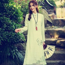 Wholesale Long Sleeve Maxi Dresses China - New 2016 Spring Summer Style Women Long Sleeve Floral Printed Cotton Linen Loose Long Dress Casual China Style Maxi Linen Dress