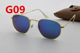 Wholesale 1pcs European and American designer fashion men women new metal hexagon hexagon blue color film sunglasses gifts gold frames glasses