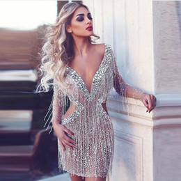 Wholesale Sequins V Neck Mini Tulle - Stunning Luxury Crystal Prom Dresses Glitter Sequins Tassel Deep V-Neck Long Sleeves Party Dress 2017 Sexy Cutaway Side Mini Evening Gowns