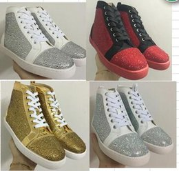 Wholesale Sho Lace - 2017 new wholesale fashion men and women patchwork purple genuine leather with Rhinestone top sneakers crystal red bottom sports causal sho