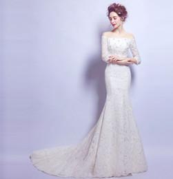 Wholesale Hot Long Tail Wedding Dresses - Wholesale New Arrival Hot Sale Fashion Elegant Luxury Princess Organza Royal Long Sleeved Sexy Slim Angel Body Tail Bridal Wedding Dress