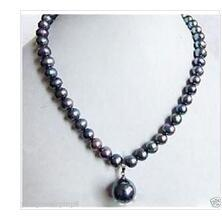 Wholesale Large Silver Chain Link Necklace - wholesale Rice Large Jewelry 7-8mm Black Tahitian Pearl Necklace Shell Pearl Drop AAA style Fine Noble