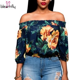 Wholesale Top Sexy Shorts For Women - Blusas Women Sexy Off the Shoulder Tops For Women Floral Printing Slash Neck Short Flare Sleeve Tee Ladies women blouses Tops