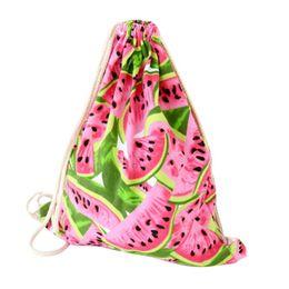 Wholesale Womens Backpack Fashion Bags Canvas - Wholesale- Naivety 2016 New Womens Fashion Watermelon Pringting Canvas Drawstring Backpack Bag JUL29 drop shipping