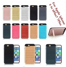 Wholesale Hard Plastic Id Case - Brush Armor Stand Hide Hard PC TPU Case For Iphone 8 8plus 7 7Plus 6 6S Plus ID Card Slot Stand Back Cover