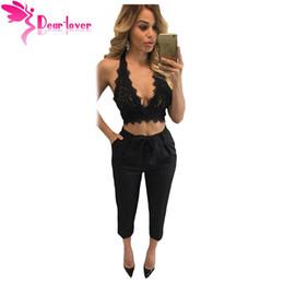 Wholesale Lace Back Tank Top Sleeveless - Dear Lover Black Crop Top Women 2016 Night Clubwear Summer Sleeveless Bustier Lace Bralette Open Back Tank Tops Camisole LC25882