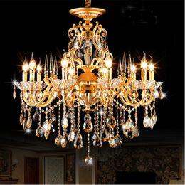Bohemian Crystal Chandelier traditionelle Vintage Kronleuchter Bronze und Messing Kronleuchter Antique Gold Kristallkerzenbeleuchtung von Fabrikanten
