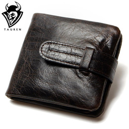 cowhide purses wholesale Promo Codes - Wholesale- Luxury Vintage Casual 100% Real Genuine Cowhide Oil Wax Leather Men Short Bifold Wallet Wallets Purse Coin Pocket Male Zipper
