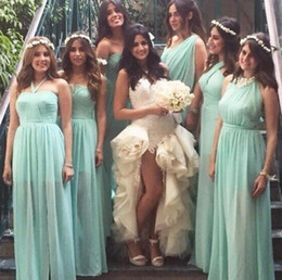 Wholesale long different style bridesmaid dresses - Long Different Style Chiffon Bridesmaid Dresses Custom Sexy Cheap Floor Legnth Bohemian Bridesmaid Gowns Beach Wedding Guest Dresses