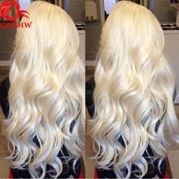 Wholesale Blonde Medium Wavy Wig - Glueless Full Lace Wig Wavy Blonde Virgin Hair For Women Blonde Gluelelss Full Lace Wigs Human Peruvian Hair Long Wavy 613 Lace Wig