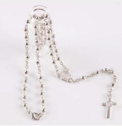 Wholesale Wholesale Catholic Jewelry - Rosary Necklace High Quality silver Plastic beads Rosaries Women Gift Spiritual Jewelry Catholic Christian Cross Neck(10set lot)