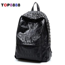 Wholesale Skull Design Bags - Wholesale- Best Selling New Arrival 2017 Men's Skull Backpack School Bag Rivet Vintage Female Bags Ghost Design Backpack For Students