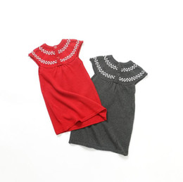 Wholesale Black Sweater Ruffle - INS 2 color 2017 Korean Style new arrival baby girl solid color Cotton Knitting sweater baby autumn high quality cotton Keep warm dress