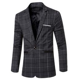 Wholesale European Men Business Suits - New Autumn Winter Men's Blazers European Style Fashion Mens wedding Blazer Suit Dress Plaid Suits Business Jacket Masculino