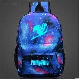 Wholesale Anime Bag Fairy Tail - Fairy Tail Printing Women Backpack Anime School Bags for Teenagers Girls Cartoon Travel Nylon Bag Mochila Galaxia Rucksack 122t