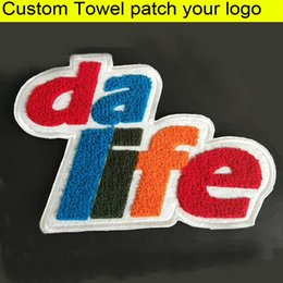 Appliques en tissu en Ligne-Tissu personnalisé Chenille Patch broderie serviette Patch fer ou coudre sur le dos bricolage badge patch vêtement Applique vêtement