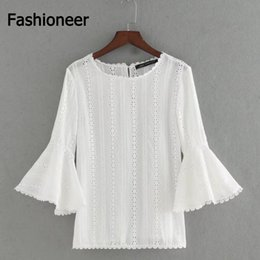 Wholesale White Ruffled Blouses For Women - Fashioneer Shirts For Woman White Hollow Out Ruffle O Neck Long Flare Sleeve Lace Summer Blouse For Women Lady S-L Size Tops