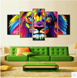 Wholesale More Canvas Paintings - Modern Animal Lion Painting Canvas Art HD Print 5pcs Canvas Art Wall Picture For Bed Room Unframed No Frame Gift Oil Picture 476