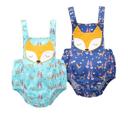 Wholesale Cartoon Animal Cotton Baby Rompers - INS Baby girl fox rompers 2 Color 2017 new Children ins cotton cartoon Embroidery Sleeveless sling rompers kid clothes L007