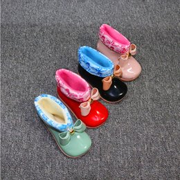 Wholesale Childrens Ankle Boots - Childrens bow shoes factory direct sales of students liner warm comfortable non-slip shoes 4 color free shipping